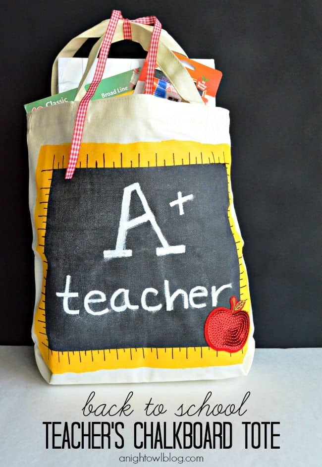 Back to School Teacher's Chalkboard Tote