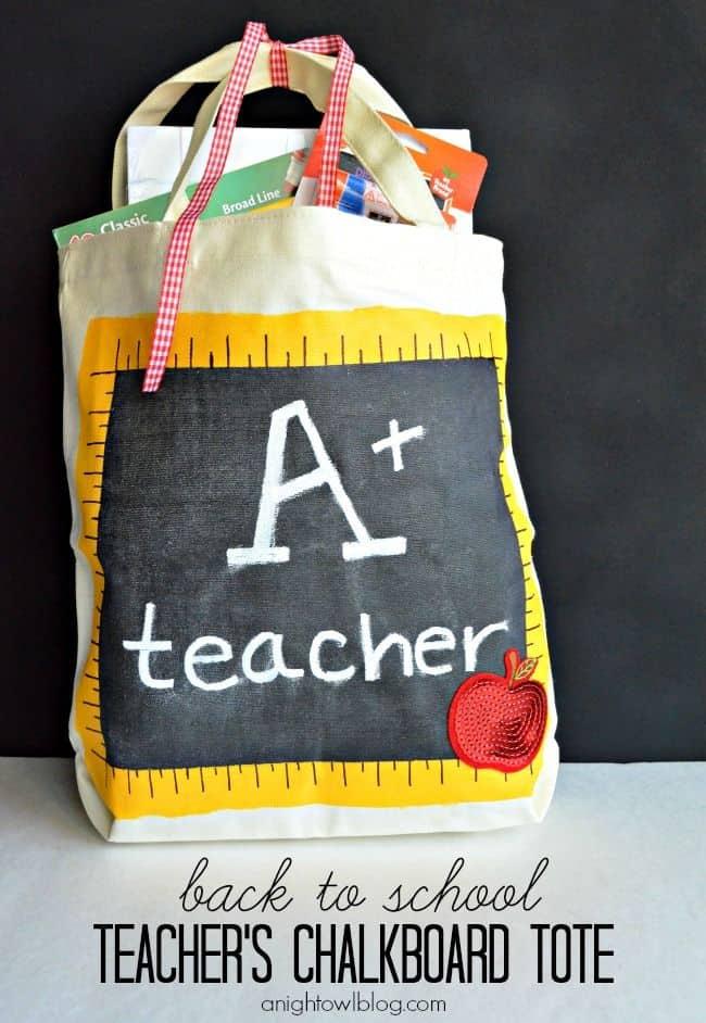 Back to School Teacher's Chalkboard Tote