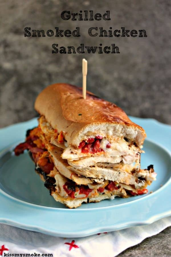 Grilled Smoked Chicken Sandwich with Roasted Red Peppers