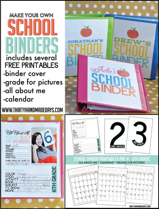 Make Your Own School Binder with several free printables