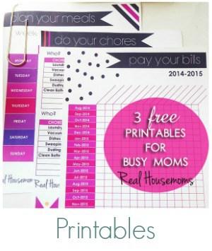 Printables on Real Housemoms