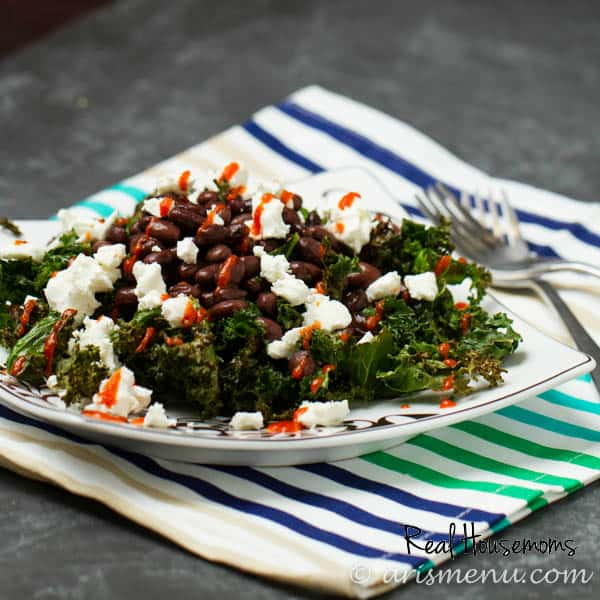 Roasted Kale with Black Beans, Goat Cheese & Sriracha | Real Housemoms
