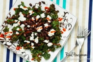 Roasted Kale with Black Beans, Goat Cheese & Sriracha