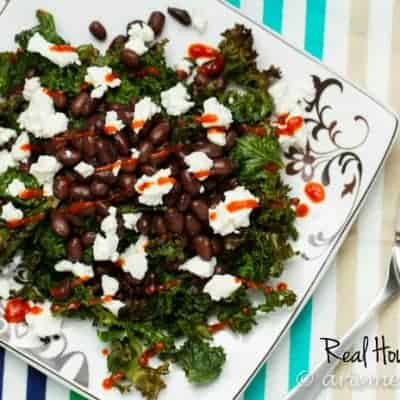 Roasted Kale with Black Beans & Goat Cheese