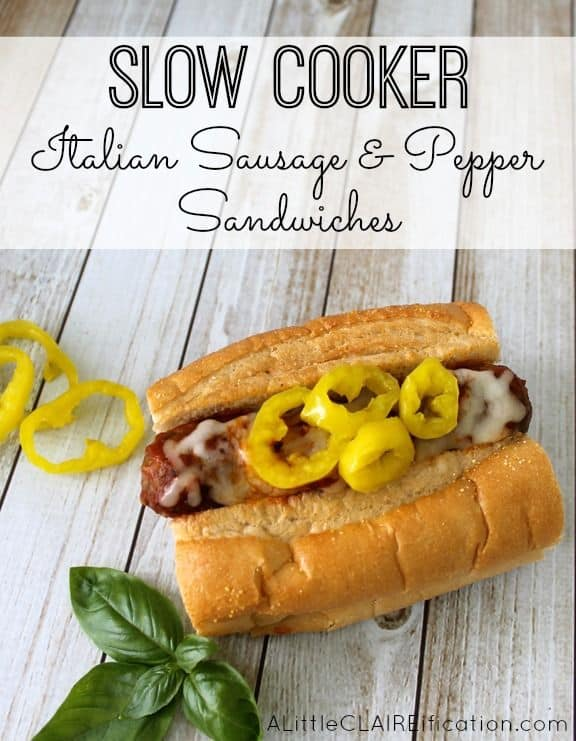 Slow Cooker Italian Sausages and Peppers