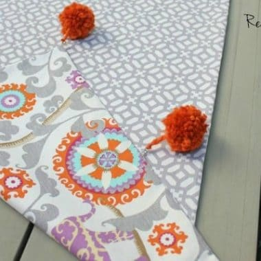 Reversible Table Runner {with removable Pom Poms!}