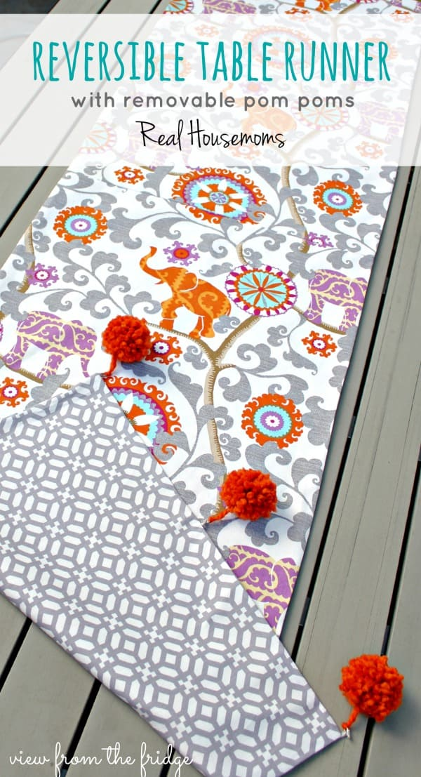 Reversible Table Runner {with removable Pom Poms!} | Real Housemoms