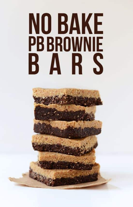 2-Layer No Bake Peanut Butter Brownie Bars