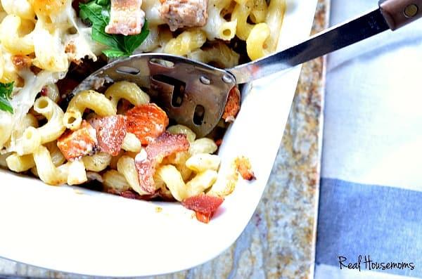 Cheesy Sausage Bacon and Sweet Potato Pasta Bake | Real Housemoms
