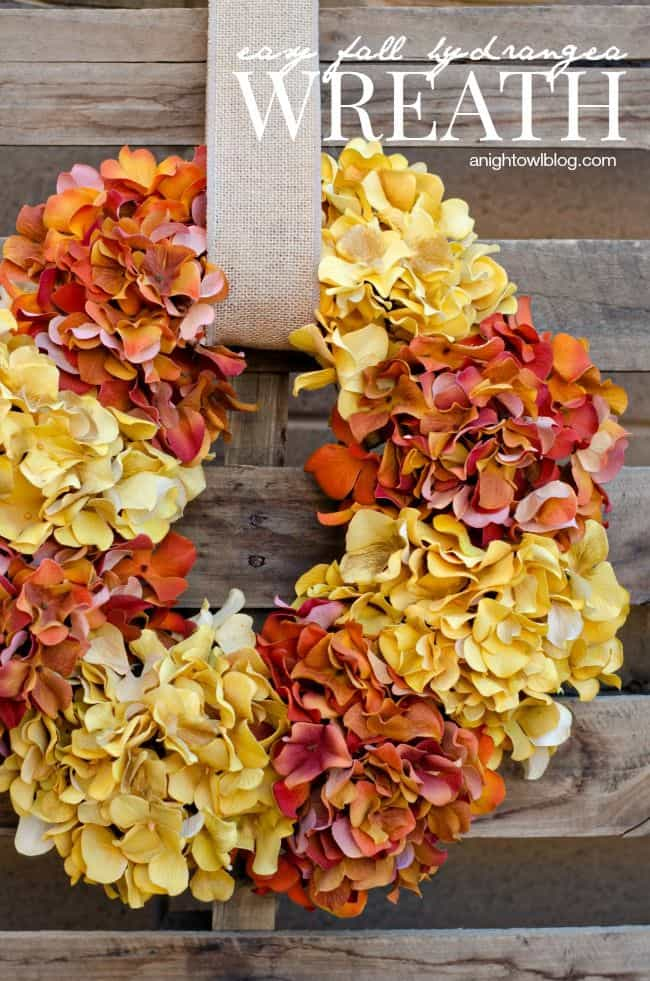 Easy Fall Hydrangea Wreath