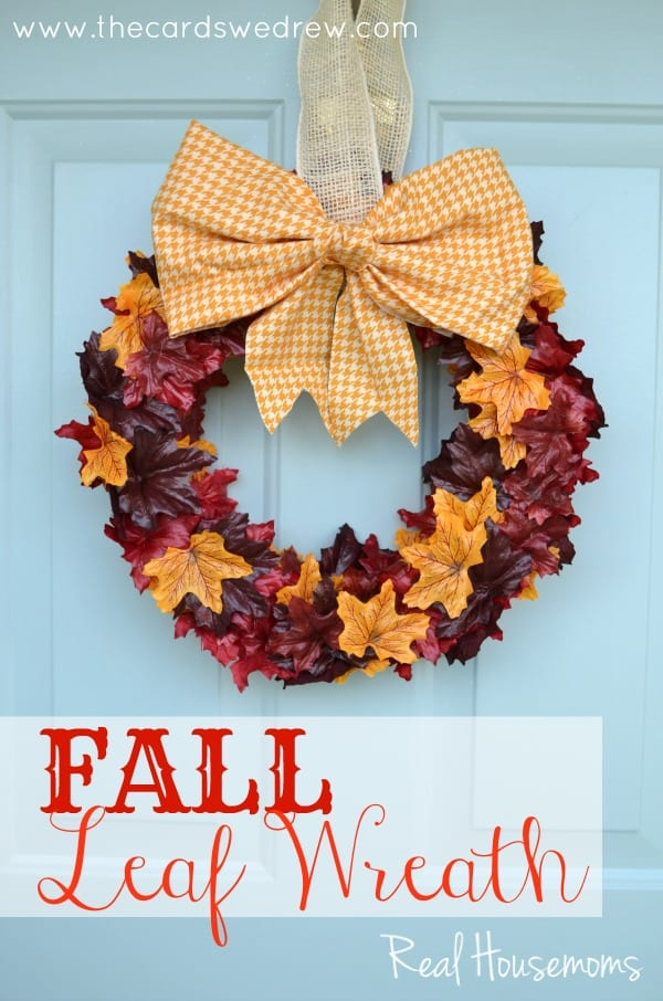 Fall Leaf Wreath from The Cards We Drew via Real Housemoms