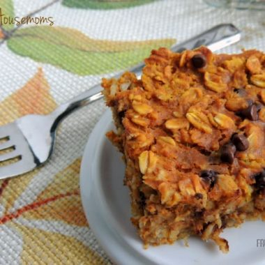 Chocolate Chip Pumpkin Baked oatmeal displayed on a small serving dish