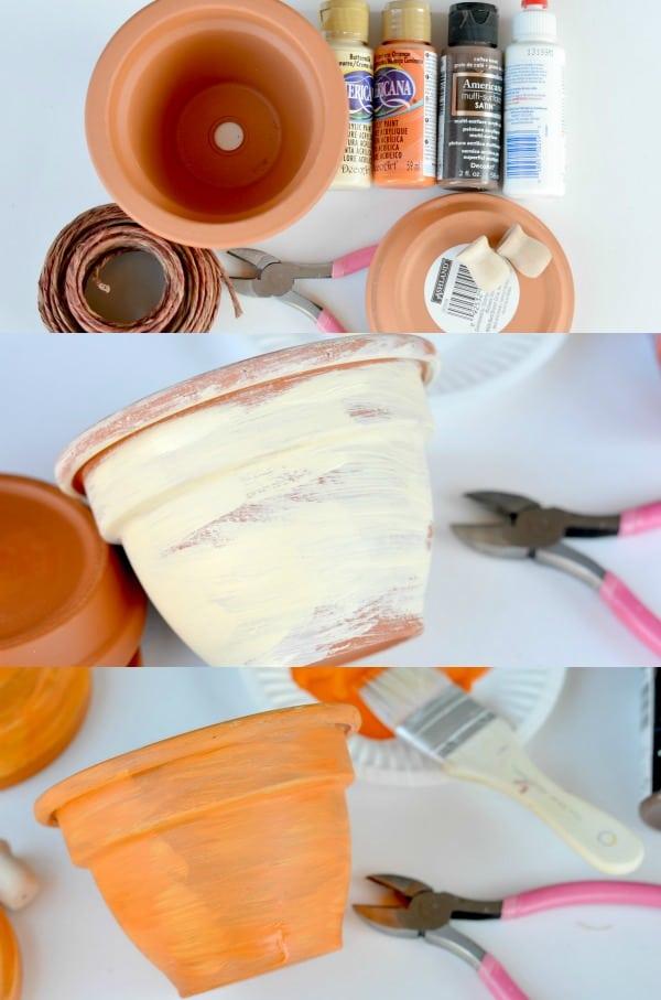 DIY Pumpkin Terracotta Pots | Real Housemoms