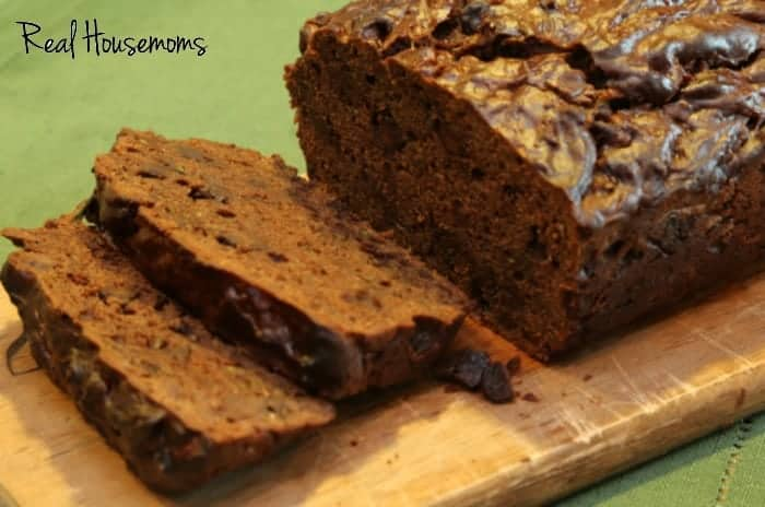 Double Chocolate Zucchini Bread, A combination of chocolate and zucchini baked into a loave of bread photo displayes slices of bread