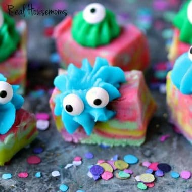 Easy Monster Fudge by Cravings of a Lunatic | Easy microwave fudge swirled with fun colours, topped with icing and transformed into cute little monsters!