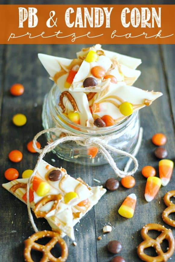PB Candy Corn Pretzel Bark