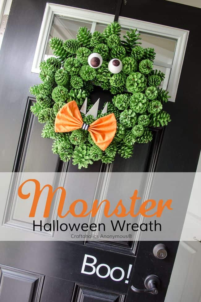 Pinecone Monster Halloween Wreath