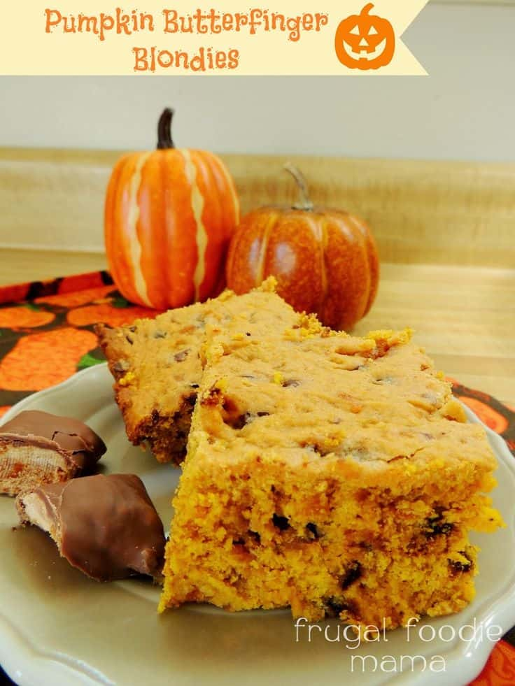 Pumpkin Butterfinger Blondies