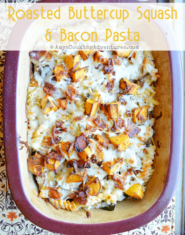 Roasted Buttercup Squash & Bacon Pasta