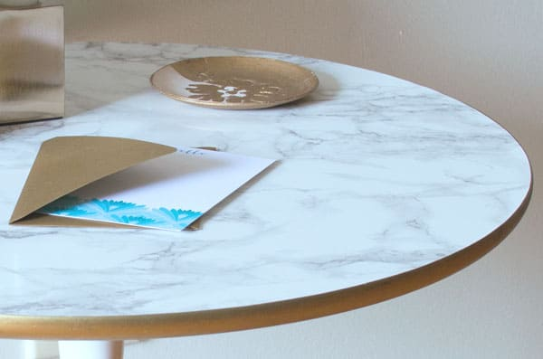 Marvelous DIY Faux Marble Top Table | Real Housemoms