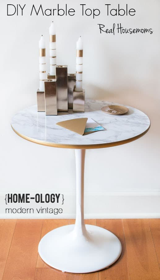 DIY Faux Marble Top Table Real Housemoms