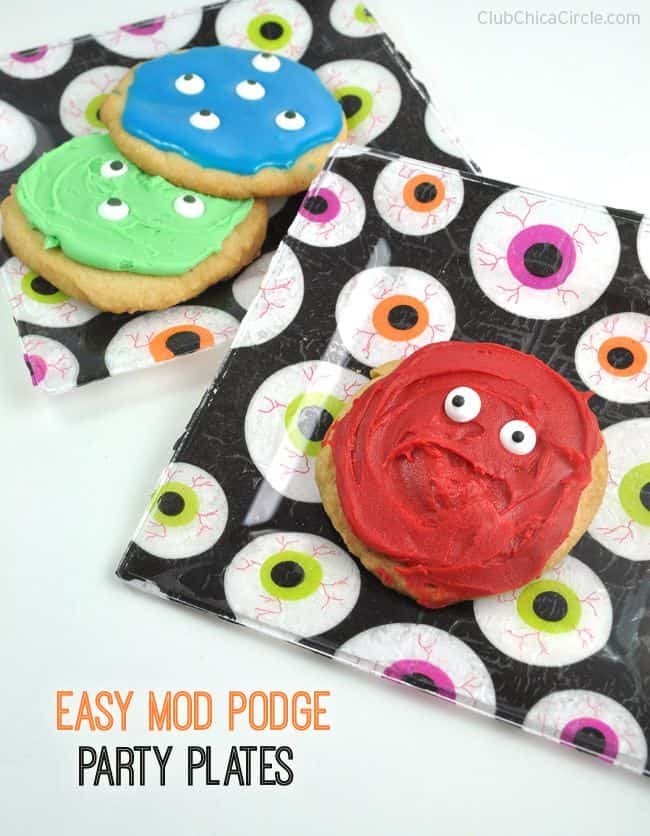 mod podge party plates