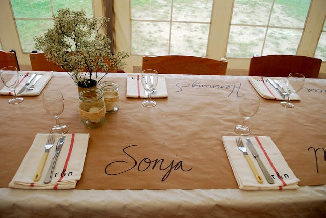 Butcher Paper Place Settings