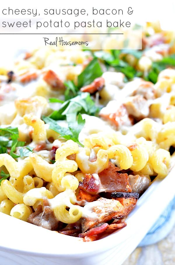 CHEESY SAUSAGE, BACON & SWEET POTATO PASTA BAKE