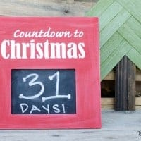 "DIY Christmas Countdown Sign, Sign is red with a chalk board in the middle, sign reads ""countdown to christmas"" with the days left"