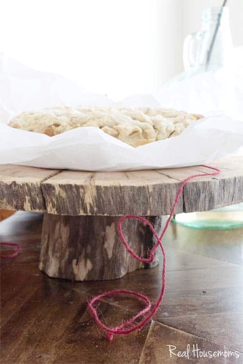DIY Wood Slice Cake Serving Pedestal | Real Housemoms