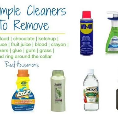 7 simplle cleaners to remove stains. Baby food, chocolate, ketchup, tomato sauce, fruit juice, blood, crayon, stickers, glue, gum, grass and ring around the collar. photo of products used