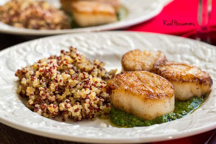 Pan-Seared Scallops with Creamy Pesto | Real Housemoms