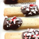 Holiday Chocolate Dipped Shortbread, shortbread dipped in chocolate topped with crushed candy cane