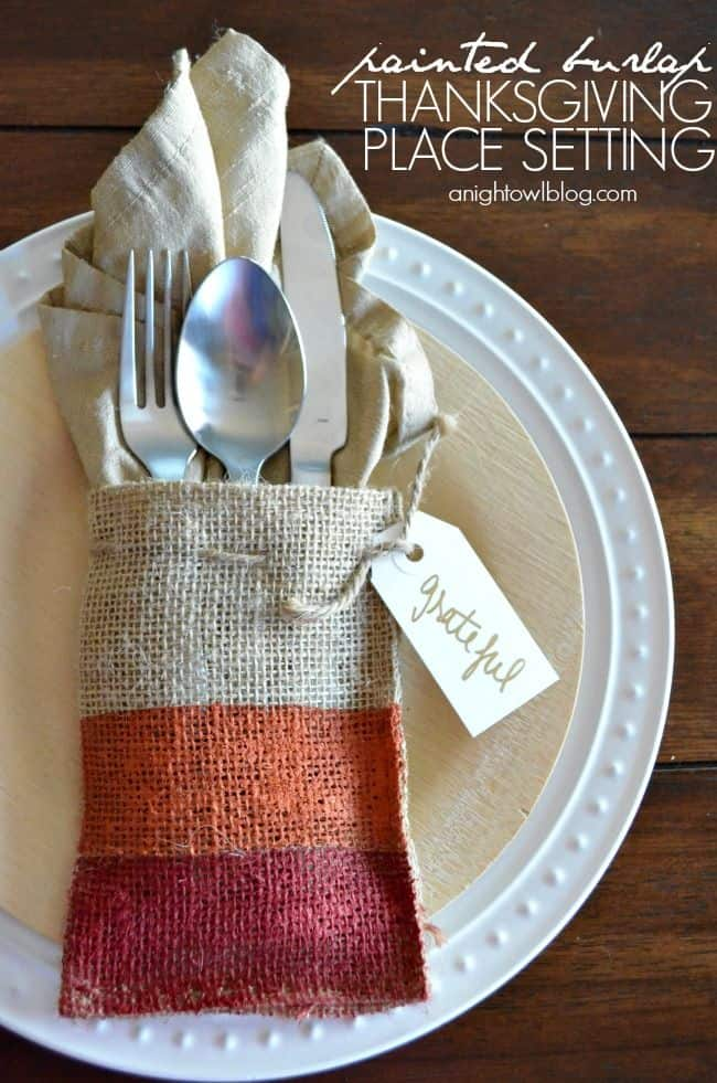 Painted Burlap Thanksgiving Place Settings
