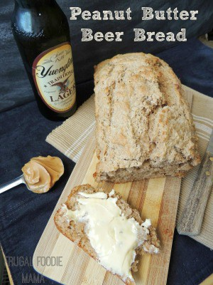Peanut Butter Beer Bread served with a side of yuengling and a spoon of peanut butter