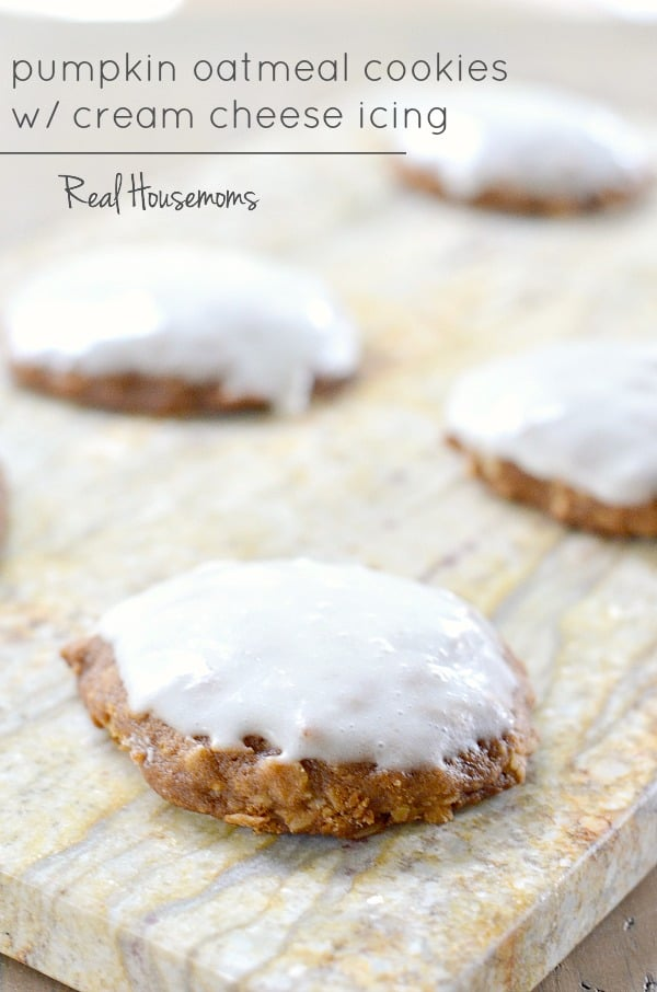 Pumpkin Oatmeal Cookies with Cream Cheese Icing | Real Housemoms