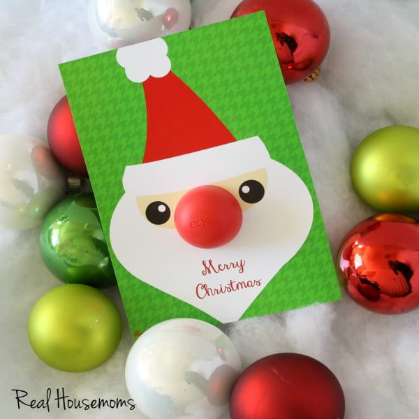Santa and Snowman Chapstick Nose Holiday Gift Idea with Free Prints | Real Housemoms