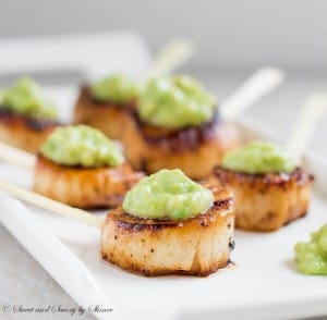 Seared Scallops w-Avocado Sauce
