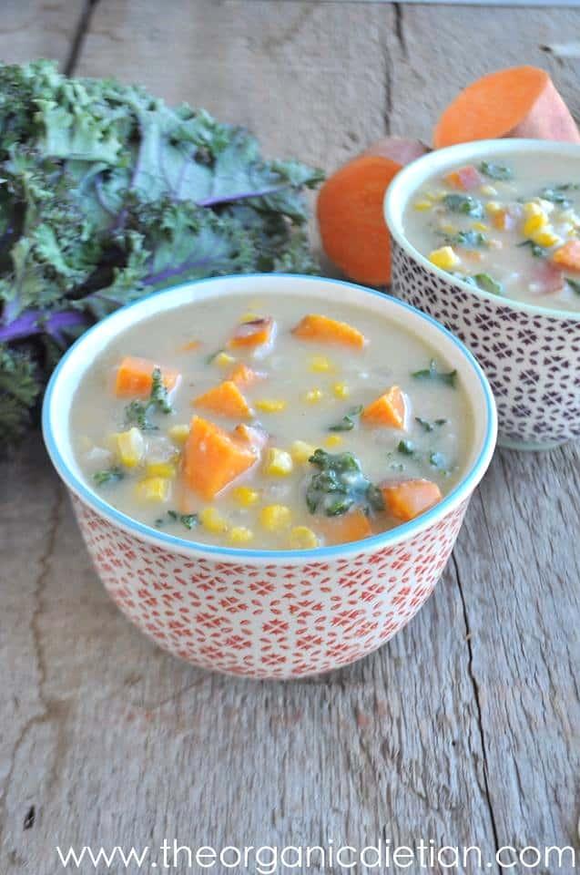 Sweet Potato and Kale Corn Chowder