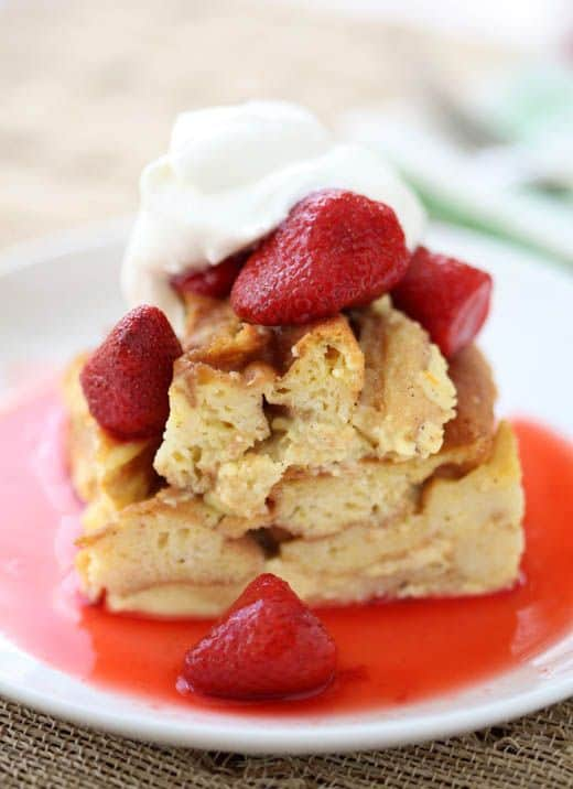 Waffle Bread Pudding with Strawberry Sauce
