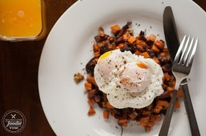Poached Eggs Over Sweet Potato Hash | Self Proclaimed Foodie