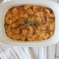 Breakfast Sweet Potato Casserole served in a white serving dish
