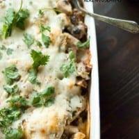 Easy black bean and chorizo enchilada casserole recipe.