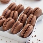 These chocolate macarons sprinkled with coarse sea salt are ultimate heaven for chocoholics!
