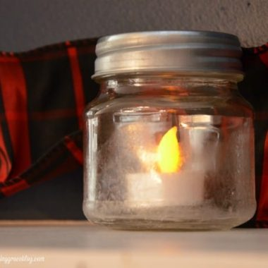 Salt Crystal Frosted Candle Jars minni mason jars with a fake tealight candle inside