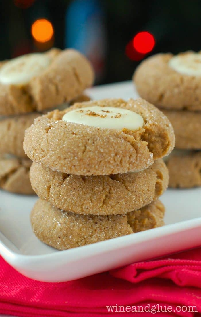 Gingerbread White Fudge Thumbprint Cookies