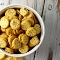 Herbed Cheese Crackers Bites. Served in a white bowl.
