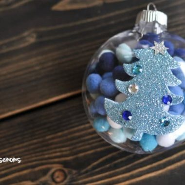 Kid Friendly Pom Pom Ornament, Pom Pom's filled on the inside of Ornament