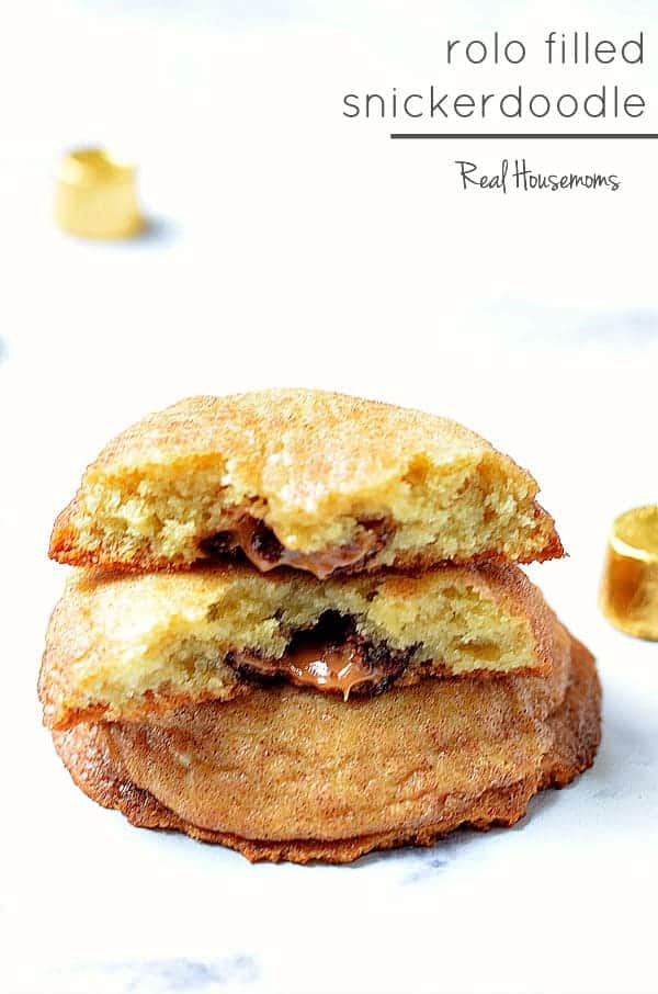 Rolo Filled Snickerdoodles are cinnamon sugar covered cookies filled with chocolate covered caramel Rolos.  These cookies will fly off the baking sheet!