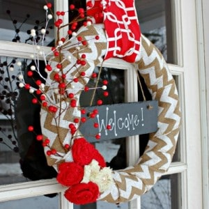 Easy Festive Red and White Christmas Wreath via View From The Fridge